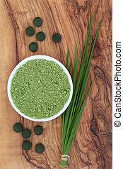 Healthy Living - Chlorella tablets, spirulina powder and...