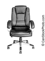 Black leather managers office swivel chair isolated on white...