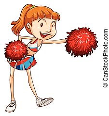 Cheerleader - Illustration of a close up cheerleader