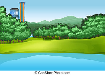 Park - Illustration of a view of a park