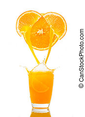 Orange juice splash prepare for breakfast in the morning