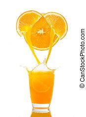 Orange juice splash prepare for breakfast in the morning