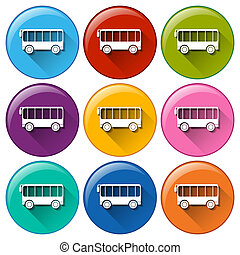 Bus icons - Illustration of many color bus icons