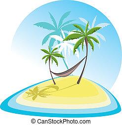 simple, Illustration, à, exotique, island, ,