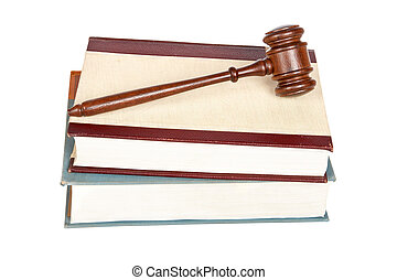 Wooden gavel and law books