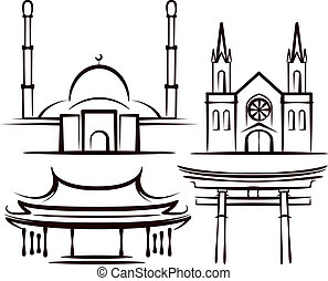 illustration with places of worship