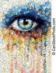 beautiful eye in geometric styling abstract geometric background  stained-glass window vector