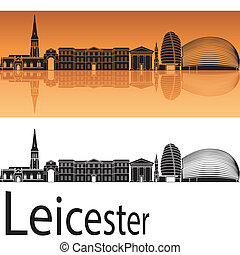 Leicester skyline in orange background in editable vector...