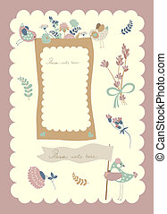 Vector border set, birds and flowers