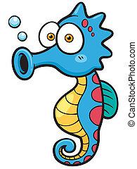 Seahorse - Vector illustration of seahorse cartoon