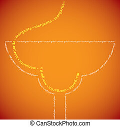 Bright margarita cocktail made from words in vector format.