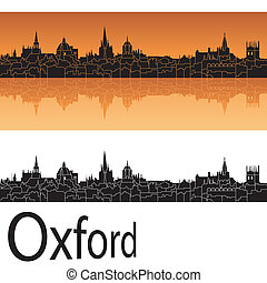 Oxford skyline in orange background in editable vector file