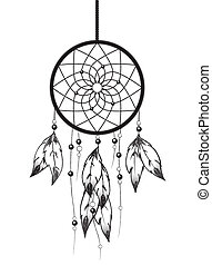 Dreamcatcher - Black and white illustration of a...