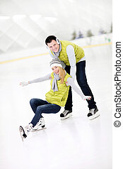 Happy couple in the ice rink - A picture of a happy couple...