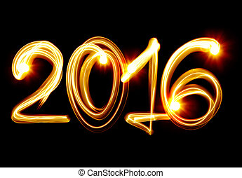 New Year 2016 - Happy New Year 2016 by light