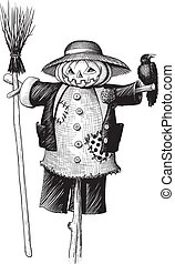 scarecrow with a pumpkin head for Halloween with a broom and...