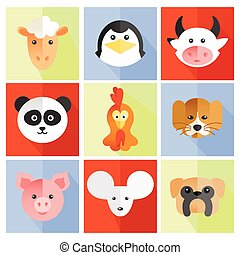 Set of flat animal and bird face icons in bright retro...