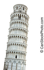Leaning Tower of Pisa isolated over white background