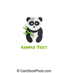 Panda with bamboo vector illustration flat style