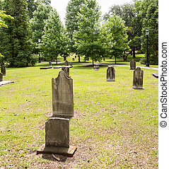 Old Worn Tombstones on Green Grass