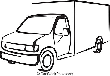 illustration with a truck. Cargo concept