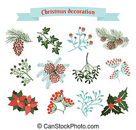 Christmas decoration set of elements EPS 10 illustration