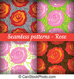 Rose. Set of seamless patterns. Floral background.