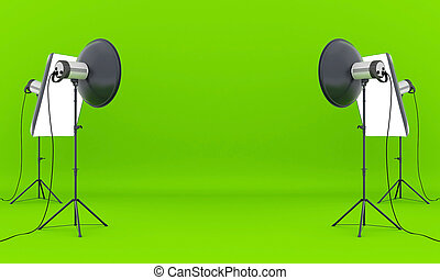 photo studio - Empty photo studio with lighting equipment