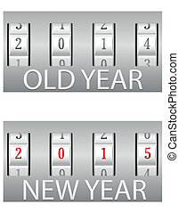 combination lock old and the new year vector illustration...