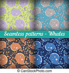 Whales. Set of abstract seamless pattern. Template backdrop...