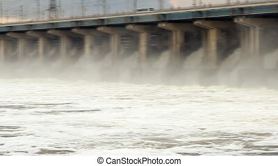 Panorama of reset water at hydroelectric power station on...