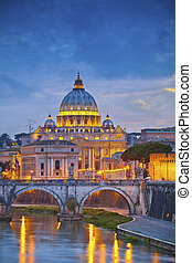 Rome. - View of St. Peter's cathedral in Rome, Italy during...