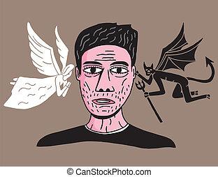 man between angel and demon