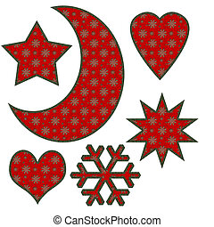 star moon heart and snowflake with holiday pattern