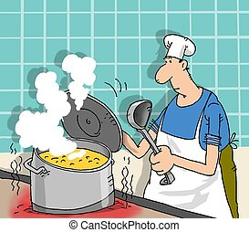 cook - The cook on restaurant kitchen costs at...