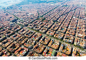 Aerial view of Barcelona, Catalonia - Aerial view of typical...