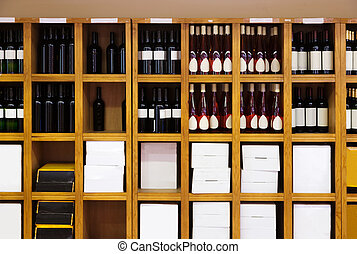 Shelvings with wine bottles