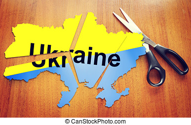 Cut map of Ukraine Concept of disintegration of the country