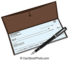 Checkbook fountain pen - Checkbook with a fountain pen...