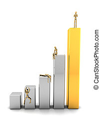 Victory - Business man standing on top of graph bars while...