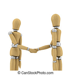 Hand shake - Two wooden mannequins shaking hands over white...