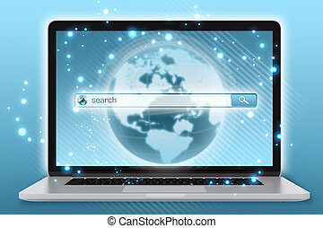 laptop with the planet on screen and search menu.