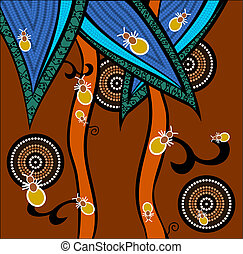 Ants - A illustration based on aboriginal style of dot...