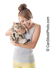 Asian woman hold her cat