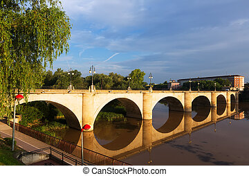 ancient bridge over Ebro Logrono, Spain