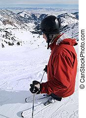 Skier at amazing ski resort