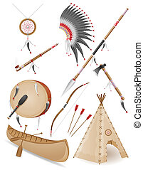 set icons objects american indians illustration isolated on...