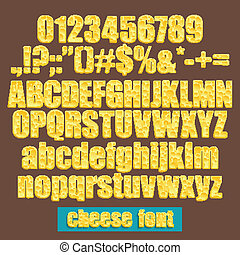 cheese font - set of cheese alphabet letters, numbers and...