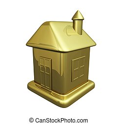 Small Gold House Model Icon - A tiny model of a house in...