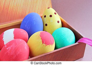 Hand Painted Easter Eggs in Gift Box - Colorful painted...